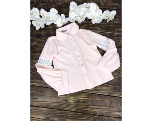Блузка с воротничком персиковая