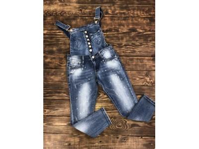 Комбинезон джинсовый с жемчугом(съемный верх)