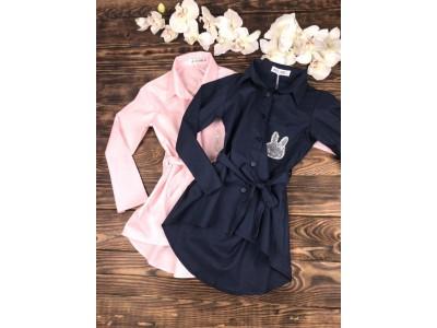 Рубашка удлиненная с пояском (длинный рукав)