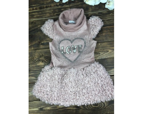 Платье теплое вязаное короткий рукав(горловина хомут)
