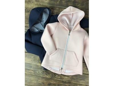 Кофта с капюшоном на молнии (на девочку) розовая синяя