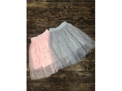 Фатиновая юбка с жемчугом(серая)