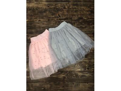 Фатиновая юбка с жемчугом(розовая)