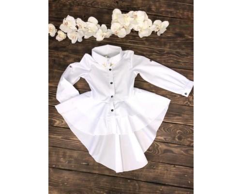 Блузка белая со шлейфом баска