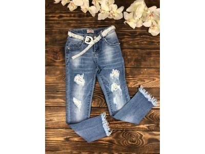 Стильные джинсы стрейч (вставки гипюра,жемчуг)