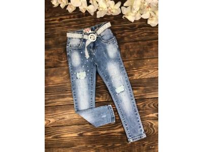 Стильные джинсы стрейч с жемчугом