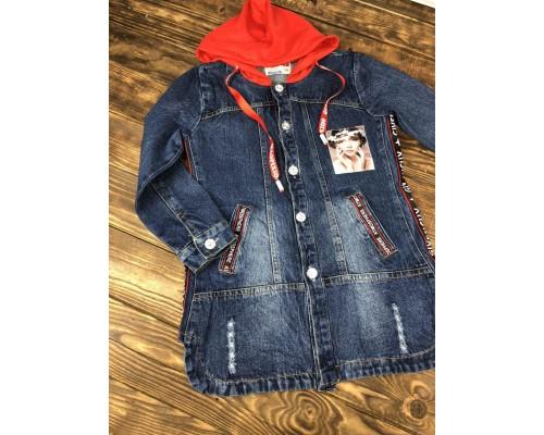 Джинсовая куртка (кардиган) удлиненная с капюшоном