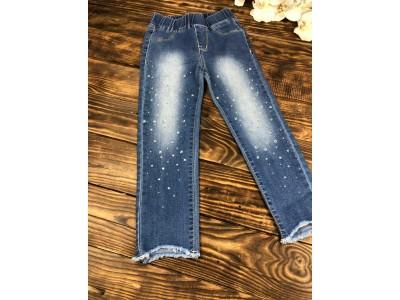 Джегинсы-джинсы стрейч с жемчугом