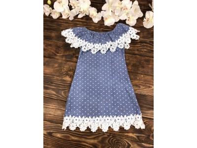 Платье сарафан в горошек с гипюром
