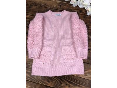 Теплый свитер с кармашками,рукав объемная петелька(розовый)