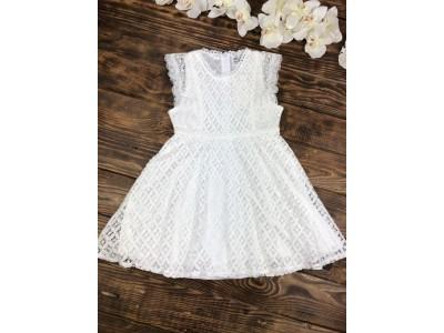 Нарядное гипюровое платье для девочки короткий рукав белое