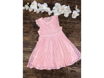 Нарядное гипюровое платье для девочки короткий рукав розовое