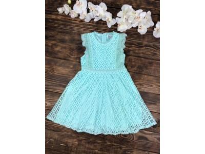 Нарядное гипюровое платье для девочки короткий рукав бирюзовое