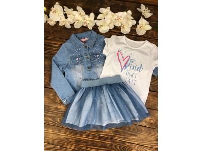 Комплект тройка, джинсовая куртка, фатиновая юбка, футболка