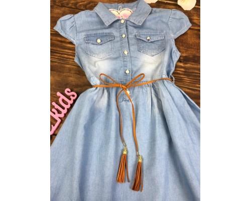 Платье с поясом (тонкий джинс)