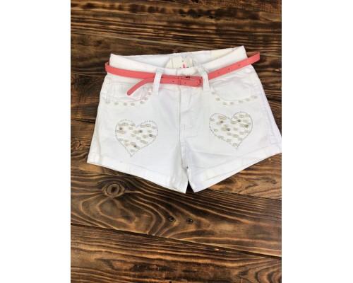 Джинсовые шорты белые,с поясом и жемчугом