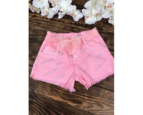 Джинсовые шорты розовые, с поясом