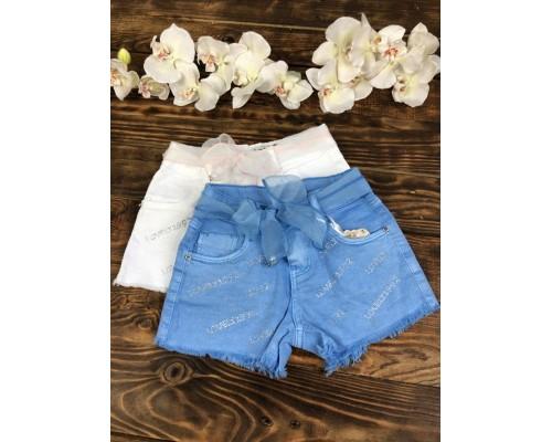 Джинсовые шорты голубые, с поясом