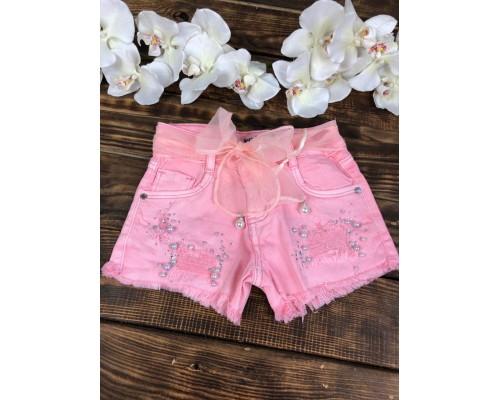 Джинсовые шорты розовые, с поясом жемчуг