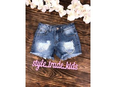 Стильные джинсовые шорты с жемчугом